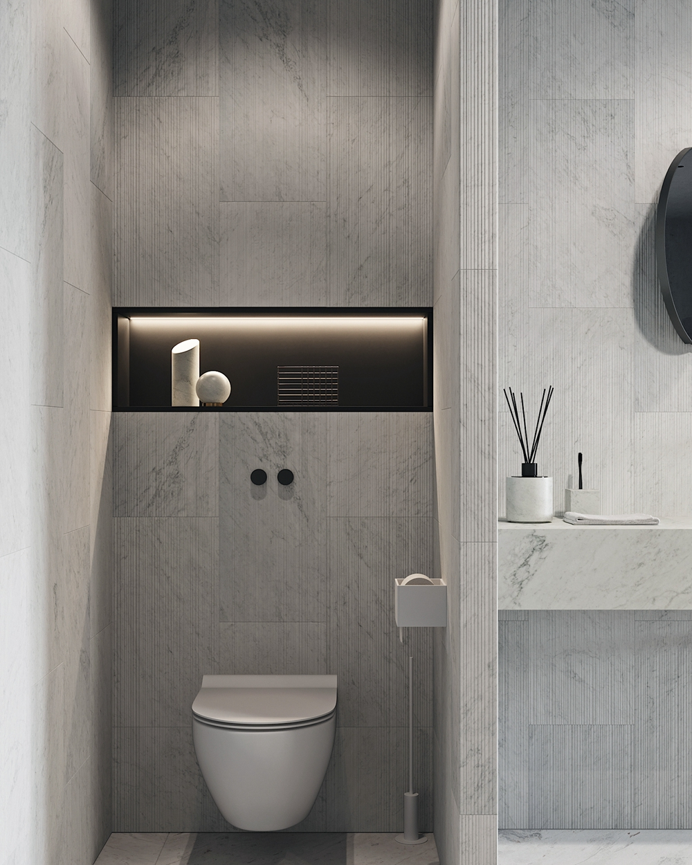 坐便器空间紧凑,为提升收纳能力局部设计了壁龛,并藏有灯带,细节处绽放精致感。