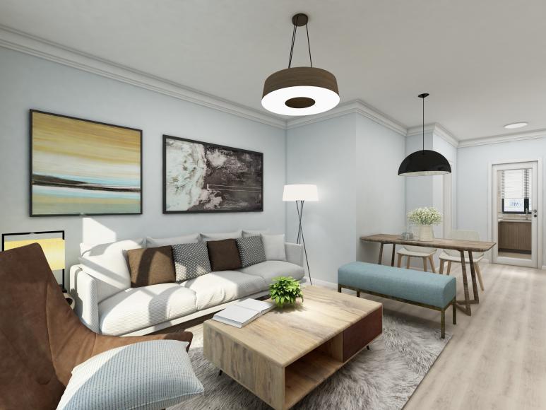 客厅看起来清爽简约,得益于软装颜色的选择,无论是浅木色的茶几餐桌,还是墙体适度的留白。