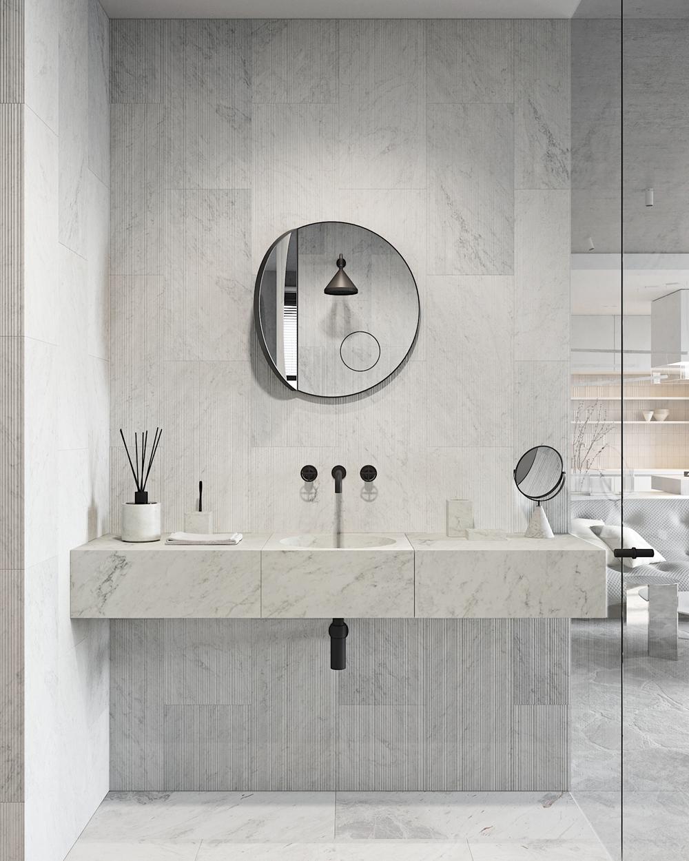 卫生间洗手池设计大胆而富有创意,同时洗手台与背景墙颜色形成呼应,整体性强烈。
