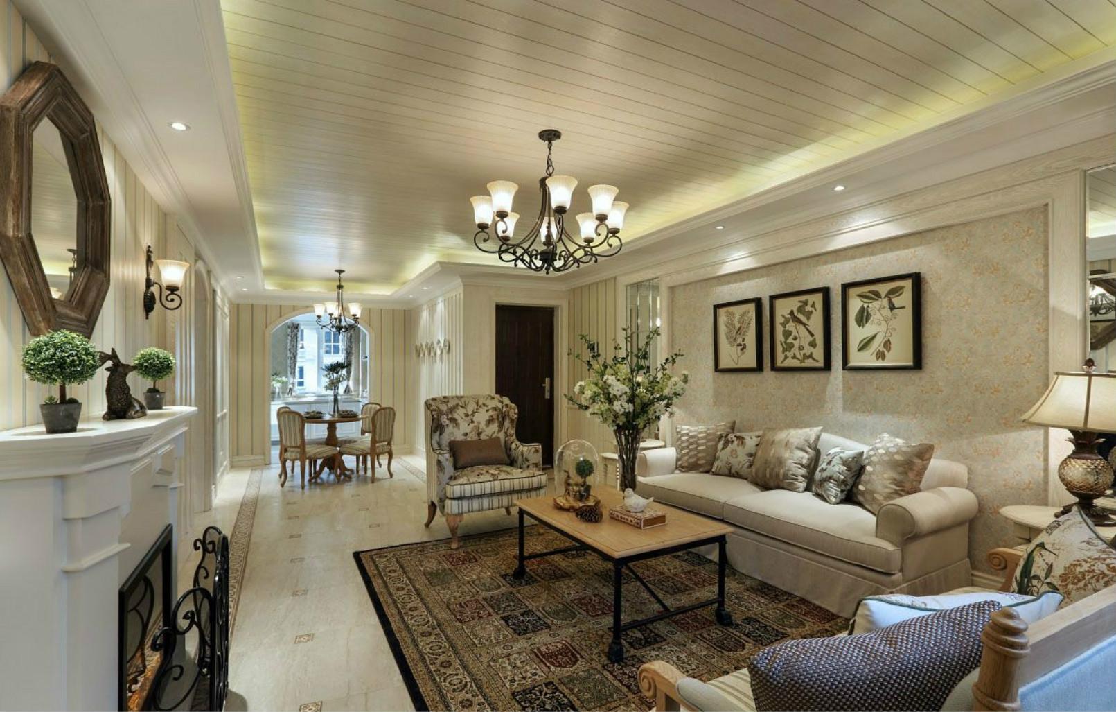 这个角度可以清晰的看到客厅和厨房没有遮挡,是开放式的,显得空间格外宽敞
