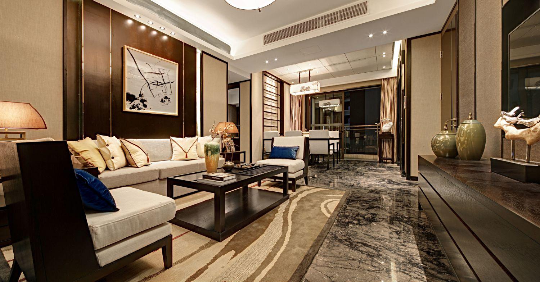 客厅空间格局适当调整后形成了良好的串联关系与流畅线条,表达了高雅的生活风格。