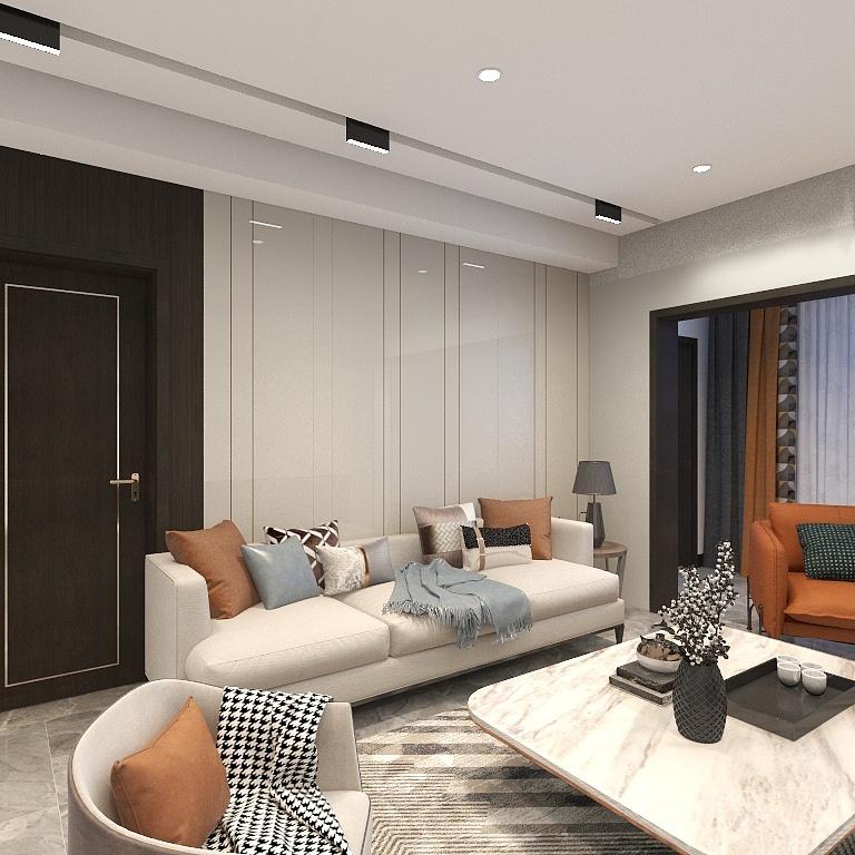 客廳溫潤雅致,白色背景下以橘色、淺藍色抱枕點綴,散發出簡潔優雅的氣質。