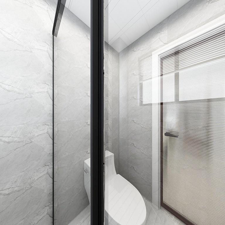 淋浴空間結構緊湊,采用玻璃進行干濕分離,白色主基調提亮了空間光感。