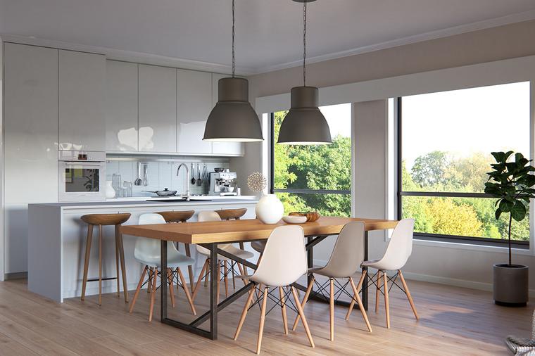 开放式的厨房设计,让整个空间融为一体,木质高脚凳搭配同样材质的餐桌和餐椅,和谐又统一。