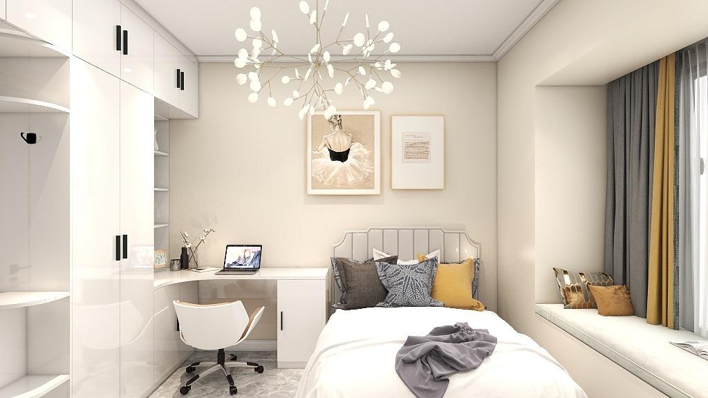 通过灰色与黄色的色彩深浅对比,拉伸了空间的层次,衣柜、书柜一体化设计提升了空间利用率。