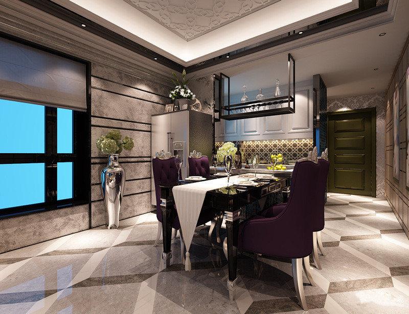 餐厅作为吃饭的地方非常的有格调,优雅的紫色餐椅搭配着黑色餐桌,一袭白色桌旗配搭,浪漫高雅的就餐氛围。