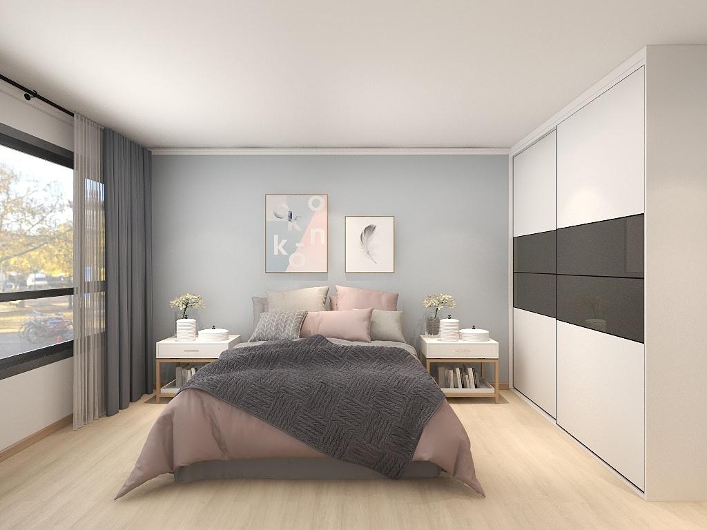 简约现代感的卧室,装饰足够清雅,突出了家具的视感,蓝色与粉色拼接,带来了丰富的感官层次。