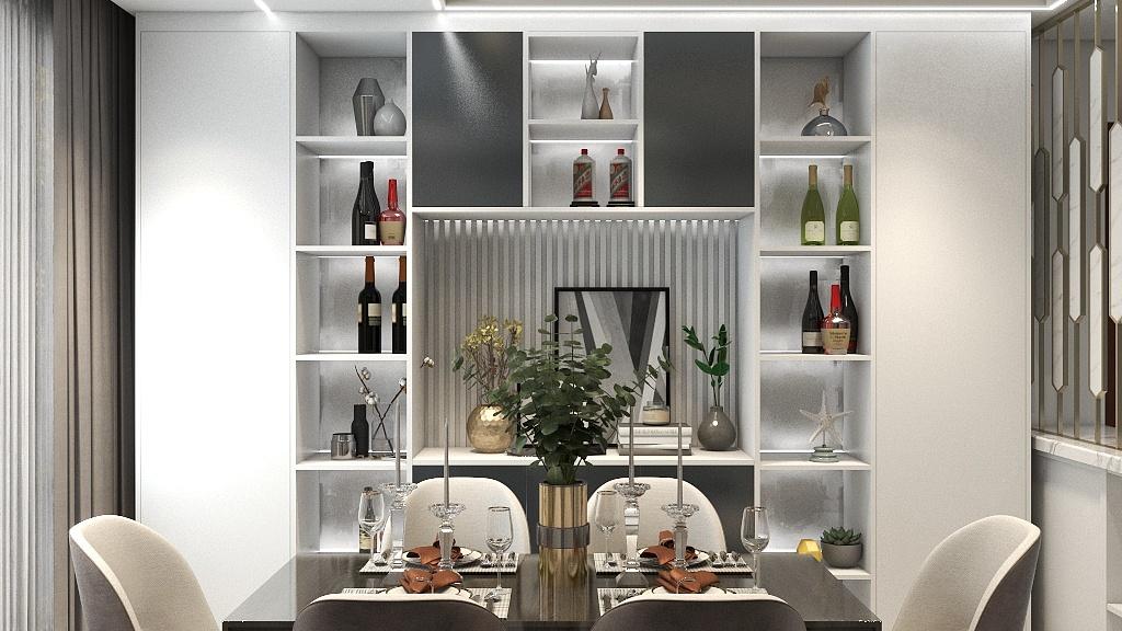 简约时尚的餐桌椅,搭配时尚感颇足的餐边柜,延长了餐厅的视觉效果,使人胃口大开。