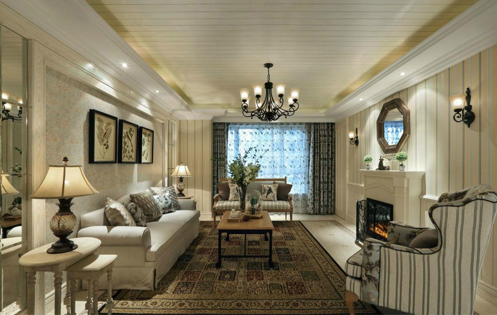 客厅睿智地在墙面挂上三幅精致挂画,别致而富有韵味