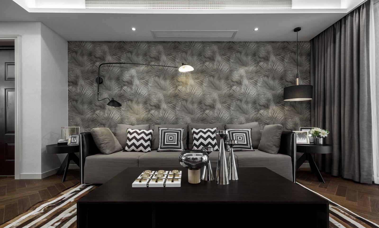 放大客厅细节,灰色大理壁纸石背景的点缀,更自然美观。