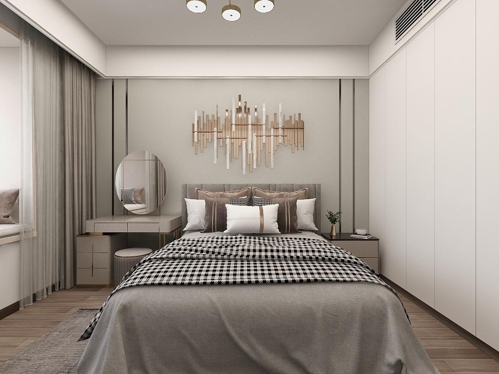 灰色与咖色的结合使空间更舒适,嵌入式衣柜大大提高了生活效率。