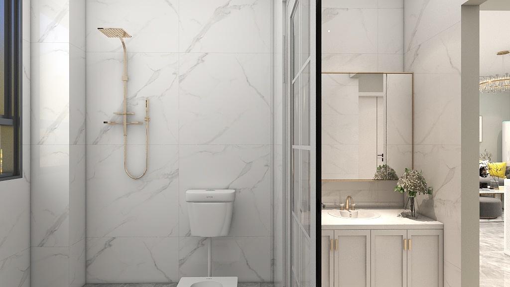 卫生间以白色为主题,空间看起来更加清新,紧凑的布局给人很整洁的感觉。