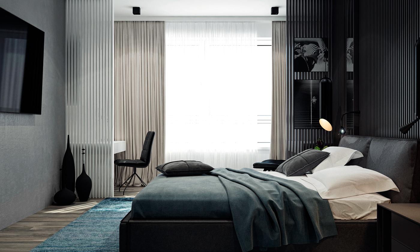 墙面悬挂着电视,以及黑色不规则吊灯,很是大气