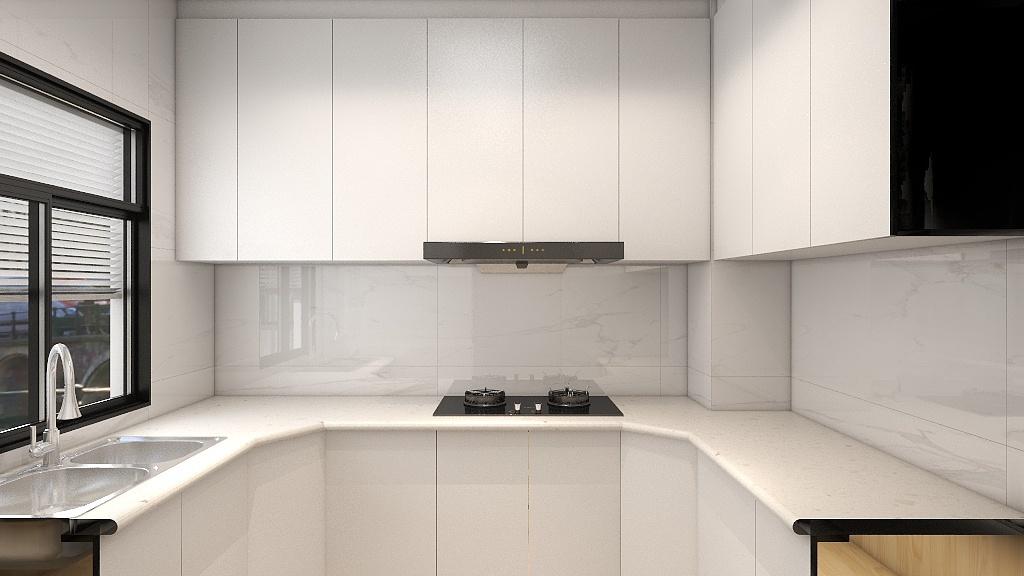 厨房以大气的白色为主色调,打造了别具一格的厨房空间,既简洁,又宽敞明亮。