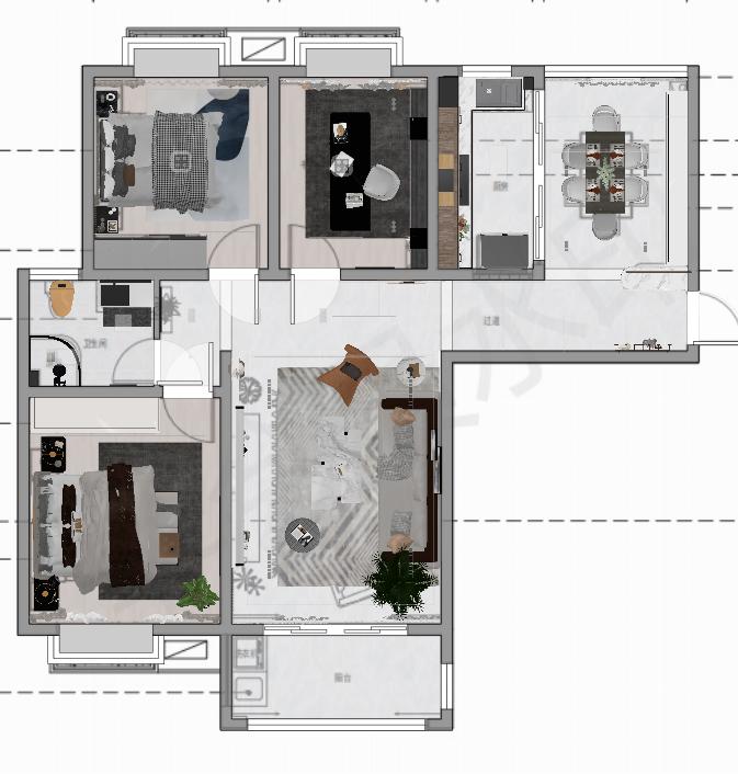 客厅与餐厅经典设计,戶型布局合理,卧室集中分布,动静规划舒适。