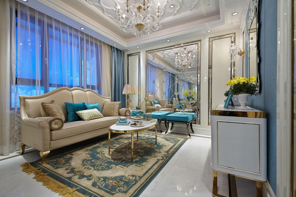 客厅整体搭配出一个非常时尚小清新的氛围