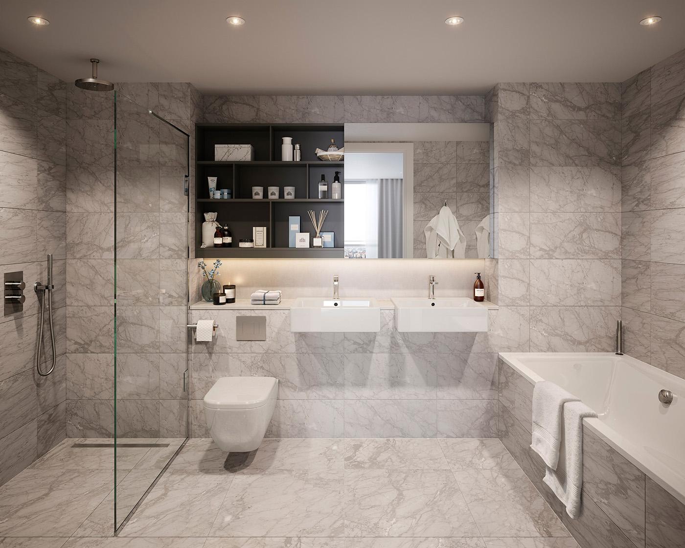 浴室墙砖的设计使空间略显宽敞,灰白搭配。