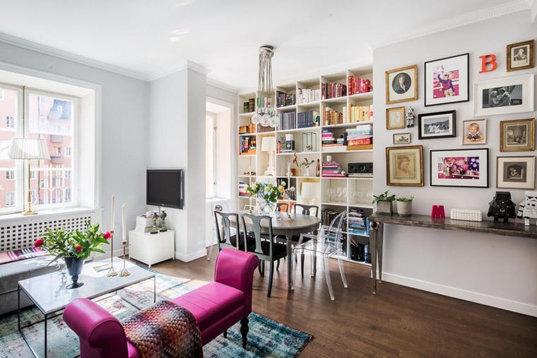 整面的储物墙可以将屋主的书籍以及配饰安放得当,东西的摆放都符合清新俏丽的氛围。