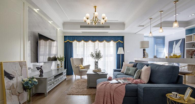 整体客厅采用实木地板与过道砖衔接,家具色调也是参考了最近很火的莫兰迪色系。