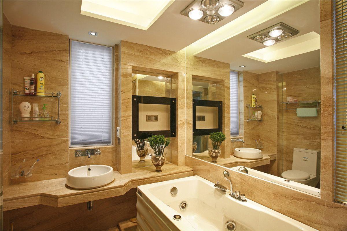 卫生间色彩华丽且用暖色调加以协调,变形的直线与曲线相互作用,构成室内华美厚重的气氛。