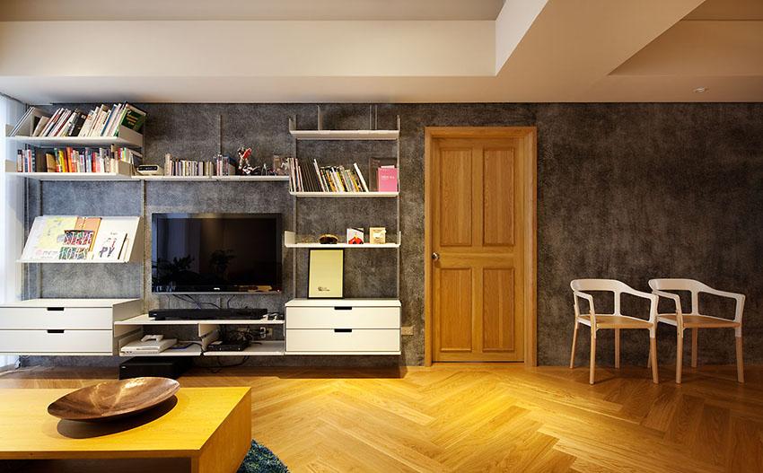 电视柜和书架融为一体,功能齐全。