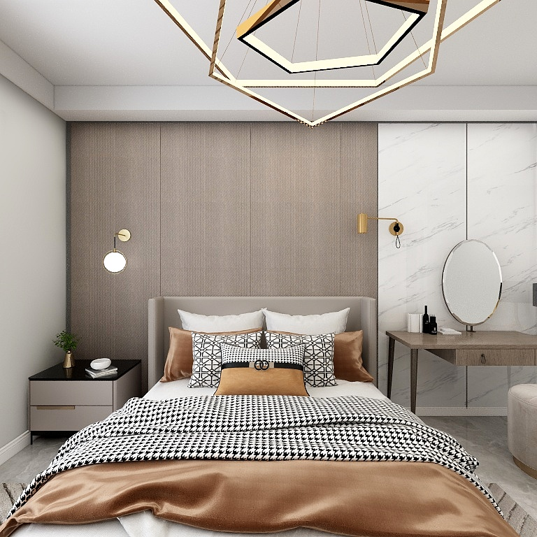 臥室以咖色調的空間,啞光咖色與背景墻相呼應,營造出一種簡約優雅的臥室空間氛圍。