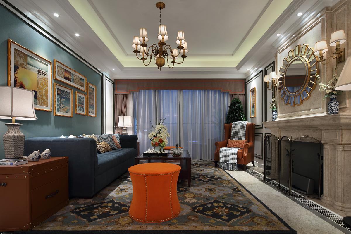 整个空间呈现清新雅致的氛围,加入橘色等亮丽色更富色彩,搭配花纹图案地毯,渲染出空间的浪漫情怀。