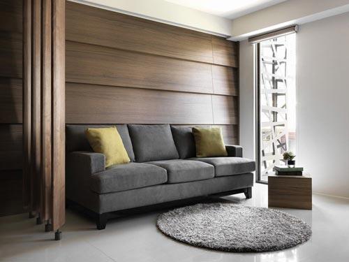 由实木贴皮铺述一室内敛沉稳,在立体层次中感受淡淡的美式风雅。