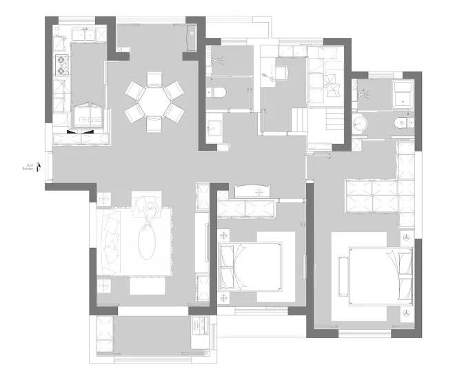 三室两厅一厨双卫的规整户型,南北通透,动静分区合理。