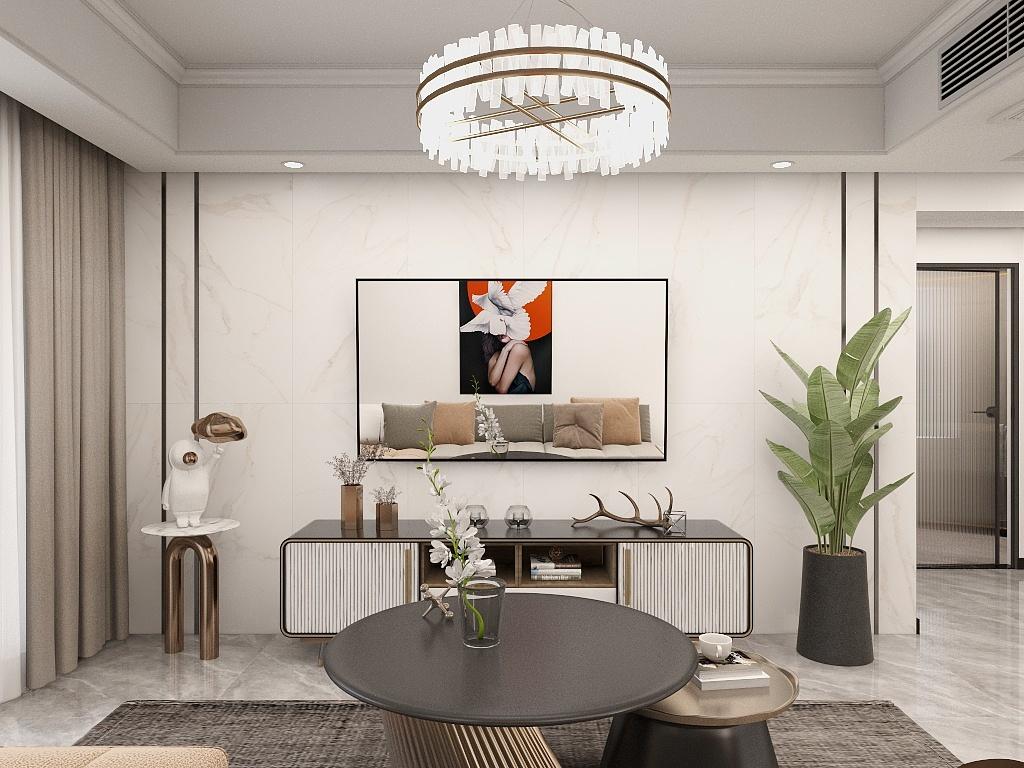 电视机背景墙以白色为主,精致墙面搭配挂式电视机,充满了年轻活力。