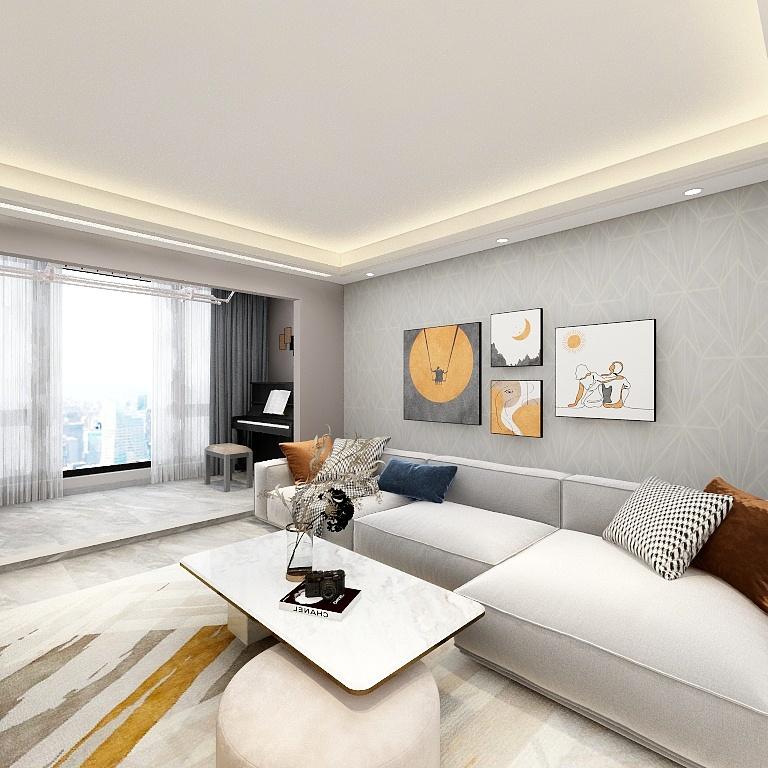 淺灰色的墻紙,藝術掛畫,再搭配灰色布藝沙發,一個溫暖又舒適的客廳空間便誕生了。