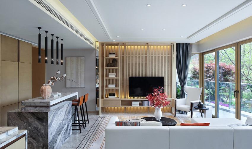 借助利落线条及石材,木材的搭配运用,呈现视线交织的美感。