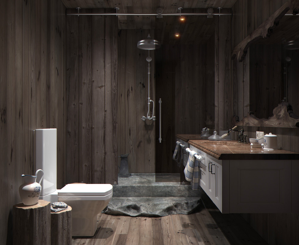 卫生间设计的就比较别具一格了,按照业主要求设计深色更好的清理