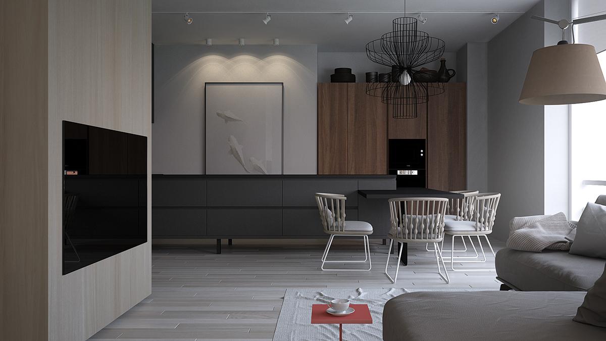 餐厅过道区域,黑白灰为主把墙面自然一分为二,用黑色花灯点缀,显得高端大气