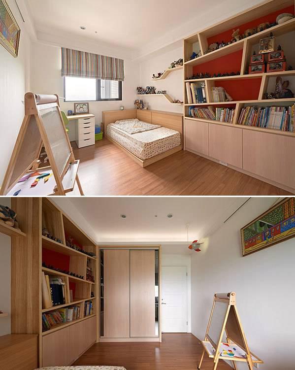 不受拘束的设计感书柜,还有缤纷亮彩的漆色与窗帘,让孩子从小就有天马行空的创意。