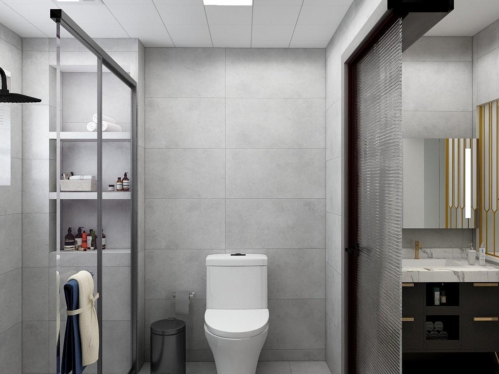 整个卫生间空间干净利落,采用三式干湿分离设计,搭配白色洁具更显温馨。