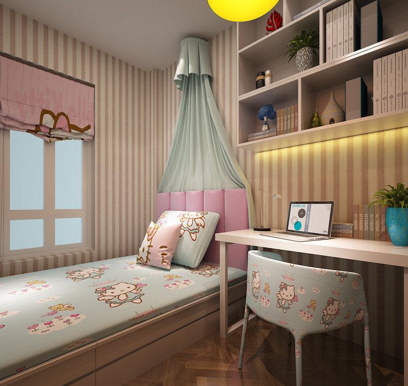 儿童房采用书卧一体的方式,在打造功能间的同时,跃动的条纹和活泼童趣的卡通图案,都让空间显得乐趣无穷。