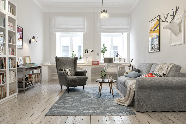 客厅简约亮丽,浅灰色的布艺沙发,以及简约的吊灯很是附有艺术风