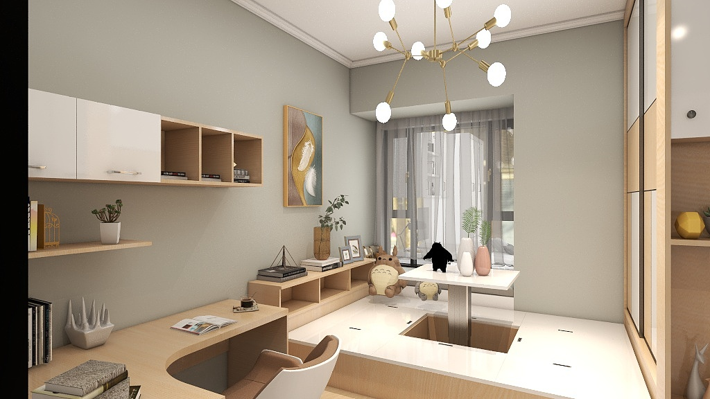 写字台台、书柜、榻榻米,在保持宽敞的前提下,几乎将所有能使用的空间填满了。