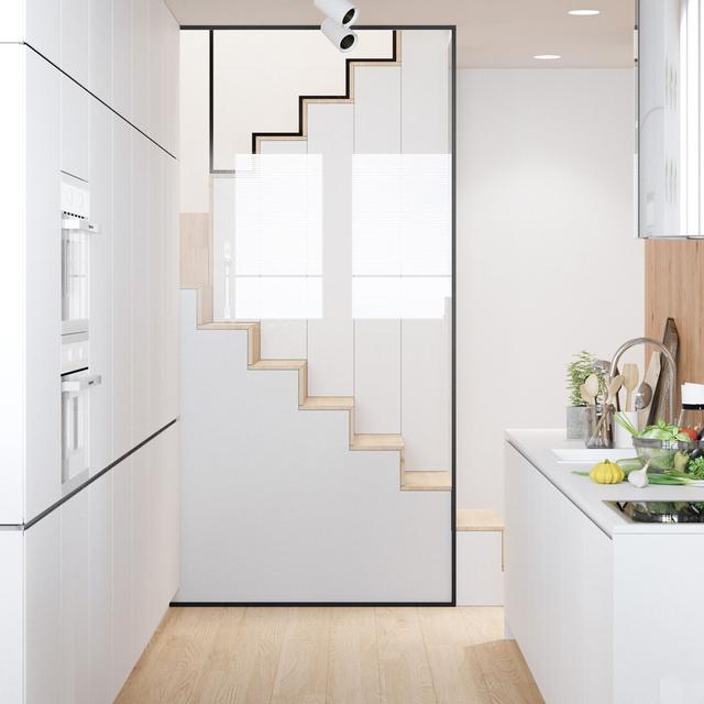 半封闭式的厨房,一张白色圆桌和靠窗的吧台,尽情享受美食给自己带来的一切美好感受。