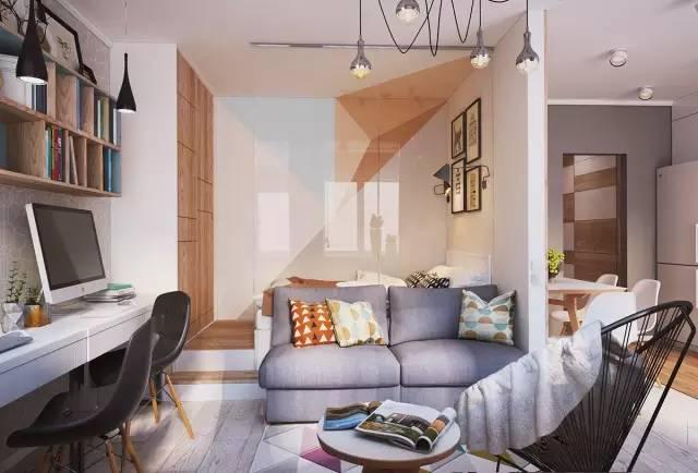 三段隔断墙让小家有序地分解开来,厨房、过道 衣柜靠近一面墙 卧房、客厅与卫生间相对而视。