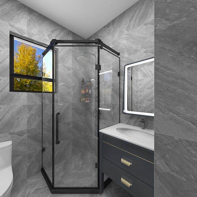 主臥附帶主衛,功能性強,衛浴在色彩搭配上以灰色為主,局部用黑色、金色勾勒。