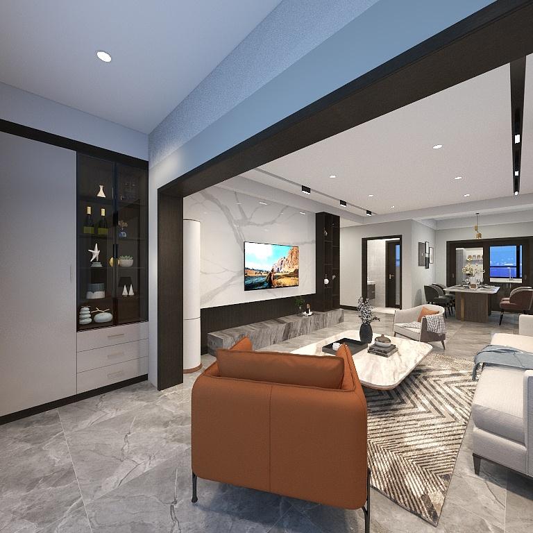 阳台与客厅连接,为室内提供了较好的采光,嵌入式收纳柜使视觉效果更加简洁利落。