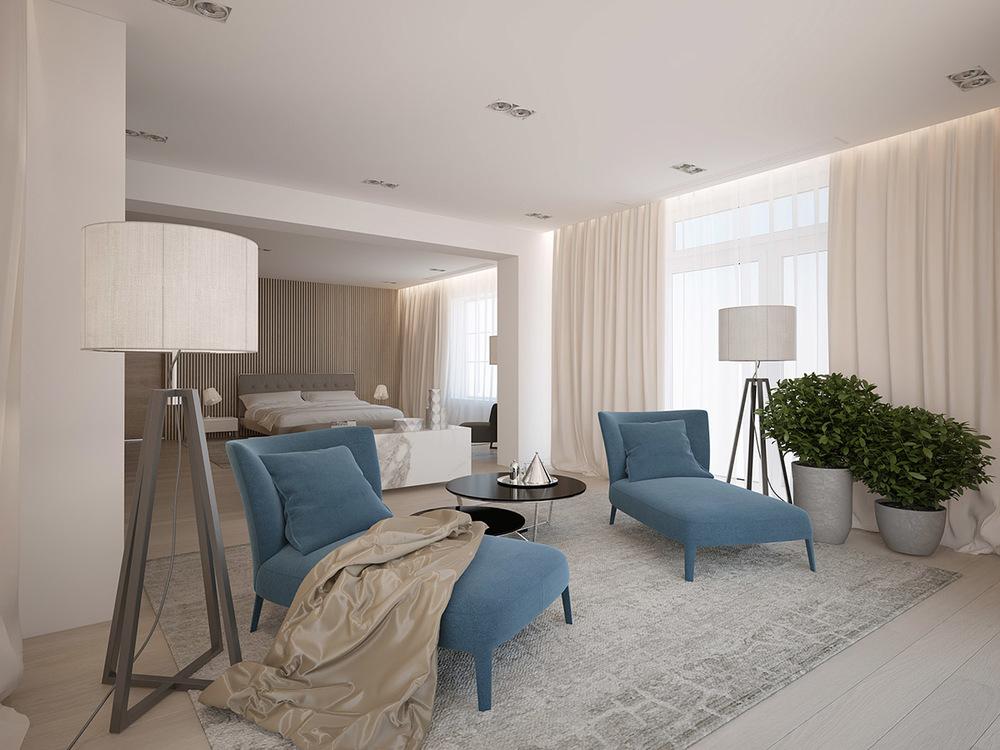 主卧床头装上棕褐色的软包,搭配皮靠垫的床,透着一股欧式的端庄气息。