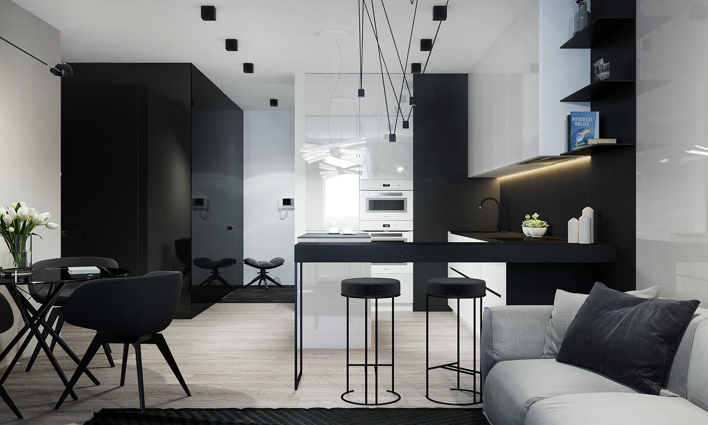 餐厅餐座椅是小黑色的吧台式搭配黑色小圆桌,整个简约大气