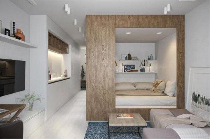 既让卧室成为一个独立的整体,也保留了一条通道,援引了单向的采光。