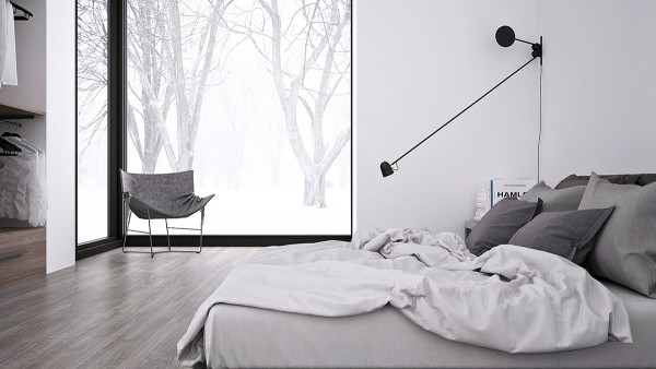 落地窗得以保留,室内风格显得非常静谧。