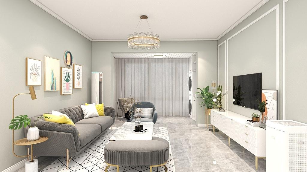 背景墙以米色打造,装饰画形成强有力的视觉冲击,家具形态尽显简约与流畅。
