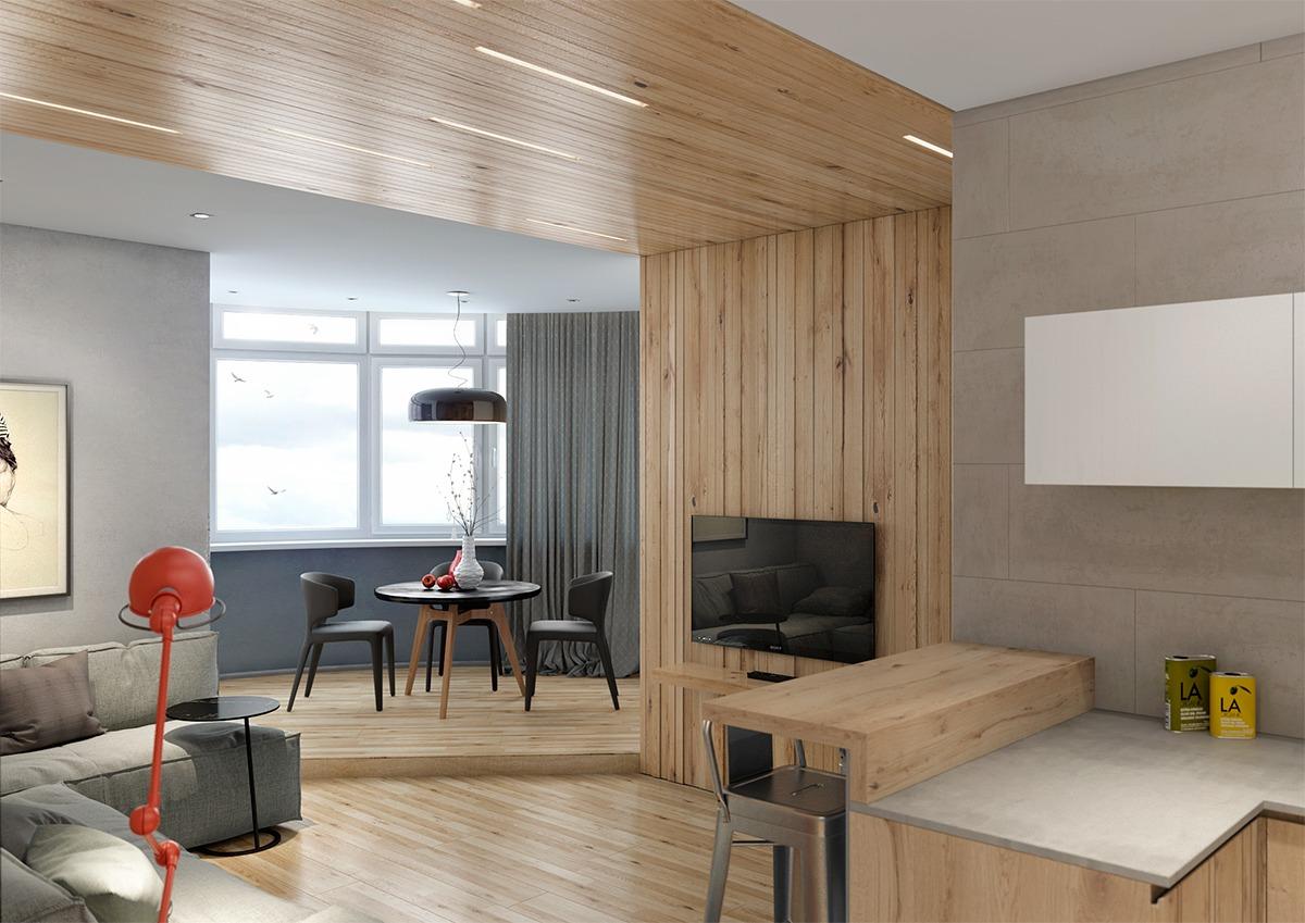 客厅有个圆弧形的阳台,视野辽阔,充足的阳关照耀着整个客厅。
