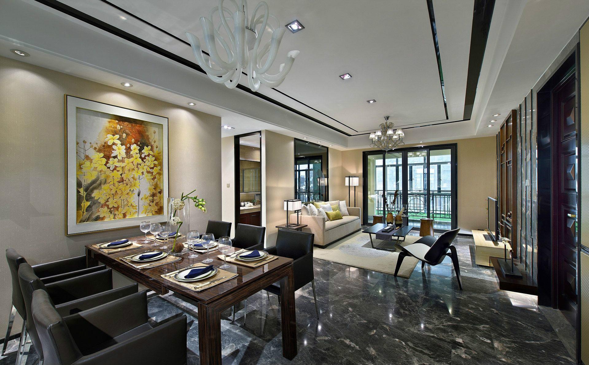 客厅和厨房一体式即扩展了空间,又让人能在一个美妙的环境中进食,对食欲有着不小的促进作用。